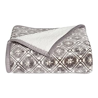 Cuddl Duds Sherpa Fleece Plush Throw (Floral Tile Gray)