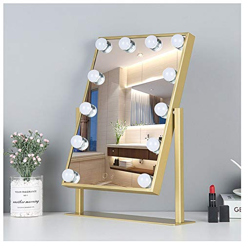 MEYOU Beleuchteter Kosmetikspiegel mit Licht für Schminktisch Hollywood Spiegel mit Beleuchtung für Tabletop, Theaterspiegel Gross Kosmetikspiegel mit 12 LEDs Dimmbarer HelligkeitGold