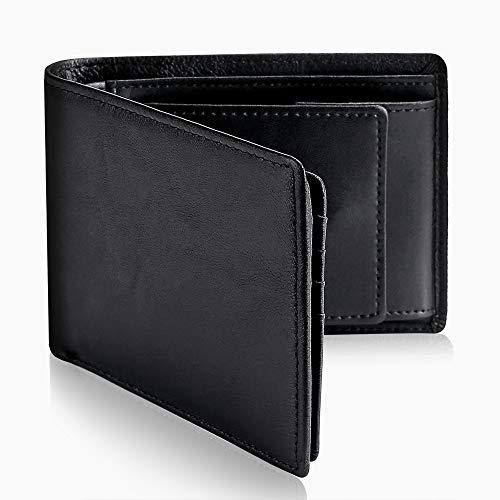 メンズ財布 ウォレット 二つ折り 本革 レザー カード収納 小銭入れ コインポケット 大容量 RFID プレゼント 高級感 (ブラック) (ブラック)