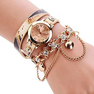 Jewelry & Watch Women Round Dial Diamond Leather Belt Loop Bracelet Quartz Watch(Red) Leather Strap Watches (Color : Beige)