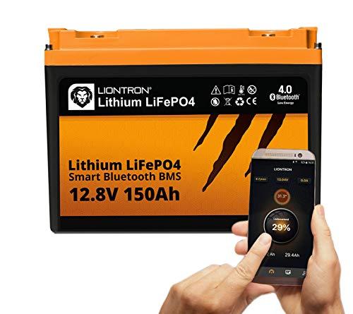 LIONTRON LiFePO4 12V 150Ah Lithium Batterie mit Smart Bluetooth BMS - Versorgungsbatterie für Wohnmobil, Boot, Camping oder Solar