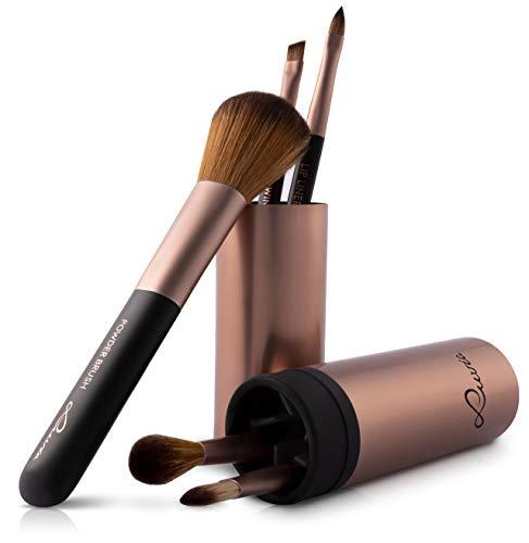 Luvia Lot de 5 pinceaux de maquillage avec viroles extravagantes en café