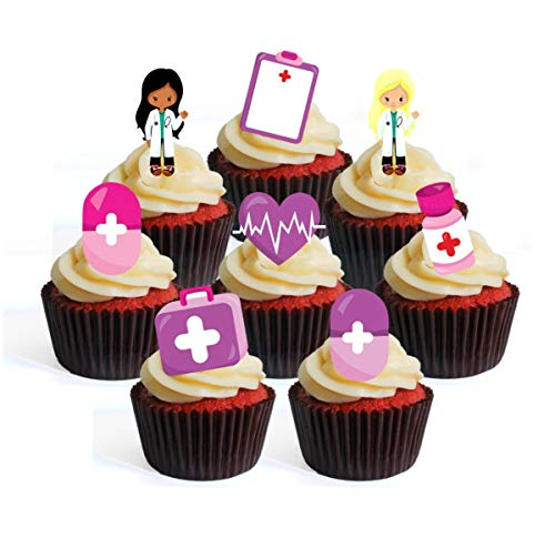 Pink Girl Nurses Rosa ragazza infermiera medici ospedale # 5 Cupcake Toppers commestibili – Stand Up Waffel decorazione torta, Packung mit 24
