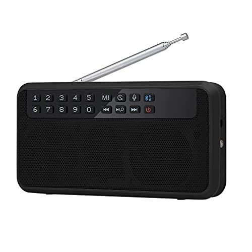 Radio FM inalámbrica 6W Altavoz estéreo de Alta fidelidad Bluetooth Reproductor de música Radios Digitales Linterna Pantalla LED Micrófono Grabar TF (Color: Negro)