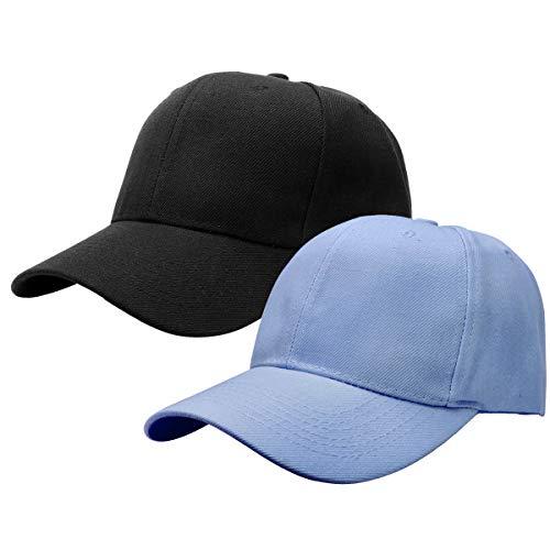 2pcs Baseball Cap for Men Women Adjustable Size Perfect for Outdoor Activities Black/Sky Blue