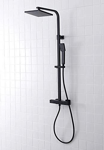 SCHWÄNLEIN® Edelstahl Duschsystem mit Thermostat schwarz Regendusche Duschset Duscharmatur Duschsäule (Light Black)
