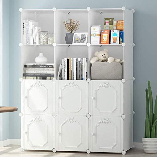 MWPO Organizador de Almacenamiento de estantería con Forma de Cubo, estantes de 12 Cubos, estantería Modular de plástico para Bricolaje con Puertas, Ideal para Dormitorio, Sala de Estar, Oficina