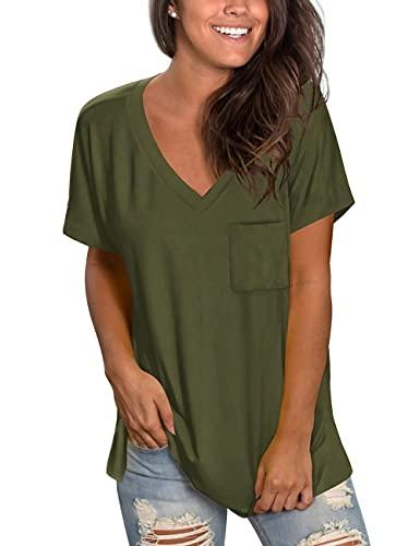 Camiseta de manga corta para mujer, cuello en V, suelta, para el tiempo libre, color negro, parte superior de...