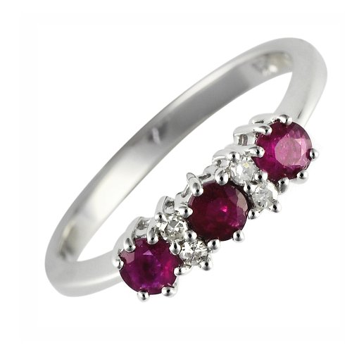 Ivy Gems 9ct White Gold Ruby and Diamond Trilogy Ring - Size M