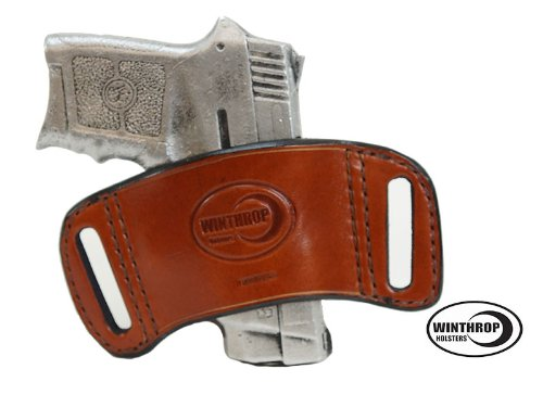 Ambidextrous OWB Belt Slide Holster Pocket Size Pistols with or without laser Brown - 0650