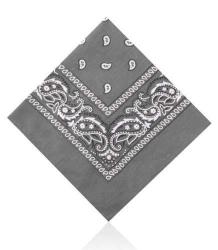 Lot de 3 bandanas en Coton motif cachemire bandanas Kaki Gris foncé et blanc