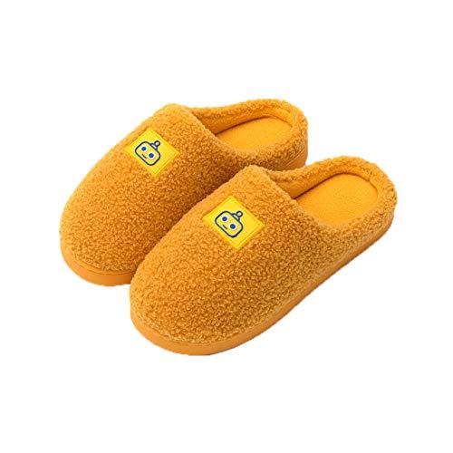 Acogedoras Zapatillas Casa Lana Mujer Cálidas Suaves Felpa Toboganes Suaves Piel Sintética Antideslizante Espuma Viscoelástica Dormitorio Zapatos Interiores Exteriores,Amarillo,M
