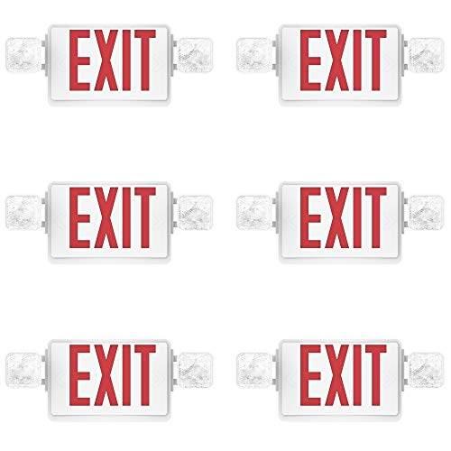Sunco Lighting 6 Pack Double Sided LED Emergency EXIT Sign, Two LED Flood Lights, Backup Battery, US Standard Red Letter Emergency Exit Lighting, Commercial Grade, 120-277V, Fire Resistant (UL 94V-0)