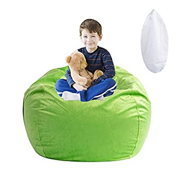 Stuffed Animal Storage Bean Bag Chair Soft Velvet BeanBag Cover Only with Inner Liner for Organizing Plush Toys Beans - Update The Old Beanbag into a New Bean Bag Seat for Kids - 38  Extra Large