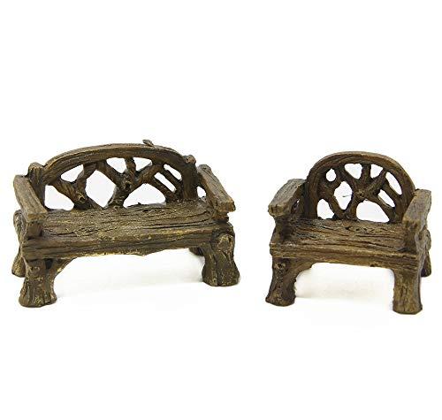 ODDIER Fiddlehead Fairy Village - Micro Cany Resin Mini Bench & Chair Set