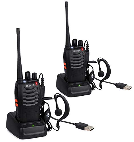 eSynic Rechargeable Walkie Talkies with Earpieces 2pcs Long Range Two-Way Radios 16 Channel UHF USB...