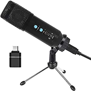 PC Microphone, Computer Microphone with Volume Control, Tripod Stand, One Key Mute, USB Mic Compatible with Laptop, Mac, Windows, Condenser Microphone for Conference, Online Chatting, Messenger, Skype