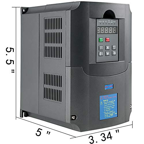 VEVOR Control CNC VFD 220V 7.5 KW 10HP Variable Frequency Drive 50A CNC Motor Drive Controller Inverter Converter 400 Hz 1 or 3 Phase Input 3 Phase Output for Spindle Motor Speed Control