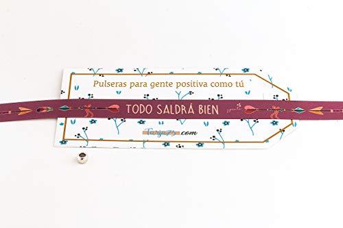 Pulseras de tela con frases molonas: TODO SALDRÁ BIEN | Presume y punto | Regalo original