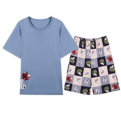 DFDLNL Traje de Pijama para Mujer, Pantalones Cortos de Verano, Pijamas de Pareja, Pijamas de Manga Corta, Ropa Masculina, camisón Informal de algodón, Ropa de Dormir XXL H-T2020M