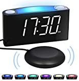 Alarm Clock for Heavy Sleepers Deaf Hearing Impaired, Loud Alarm Clock with Bed Shaker, 2 USB Chargers 7-Color Nightlight,Large LED Display &Dimmer,Snooze 12/24H DST Plug-in Battery Backup,Bedroom