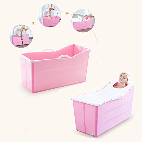 Qiutianchen Bañera Moderna, portátil Adulto Plegable plástico bañador bañador Grande baño Masaje Homenaje SPA Gran cantidad de Utensilios de baño Completo Cuerpo (Color : Pink)