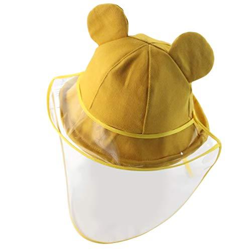 PRETYZOOM Claro Protector Facial Completo Sombrero de Seguridad Lindo Oso Oreja Sombrero para El Sol Anti Niebla a Prueba de Salpicaduras Adultos Al Aire Libre Todos Los Días Amarillo