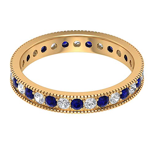Rosec Jewels 10 quilates oro amarillo redonda round-brilliant-shape H-I Blue Diamond Blue Sapphire