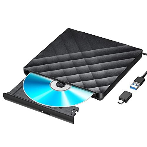 Gueray Externes DVD-Laufwerk mit USB 3.0- und Typ C-Konverter Externes CD-DVD-Laufwerk Tragbarer CD-DVD-RW-Reader Re-Writer-Brenner für Laptop-Desktop-PC Kompatibel