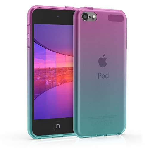 kwmobile Hülle kompatibel mit Apple iPod Touch 6G / 7G (6. und 7.Generation) - Silikon Backcover Schutzhülle - Cover Case Zwei Farben Pink Blau Transparent