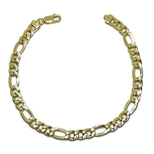 Never Say Never Bracelet en or jaune 18 carats pour homme modèle classique 3 x 1, 21 cm de long, 6 mm de large et 7,3 g de poids d'or 18 carats. Fermoir mousqueton pour une sécurité maximale.