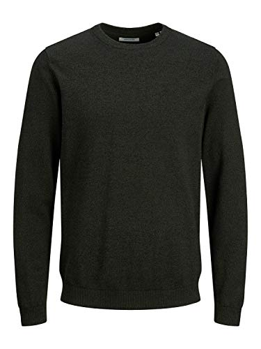 Jack & Jones JJEBASIC Knit Crew Neck Noos Pullover, Forest Night/Detail:Twisted with Black, M Homme