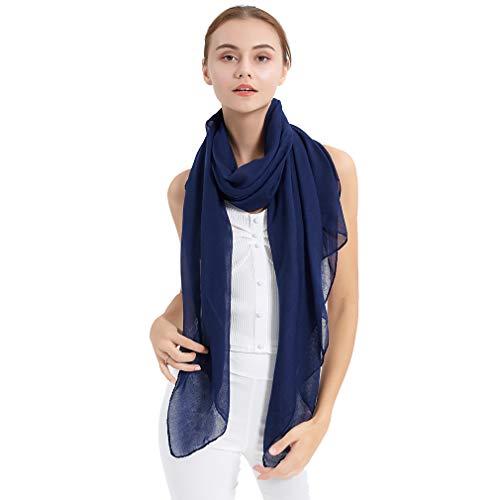 Bufanda larga de mujer color sólido Chal transparente grande envuelve para la noche