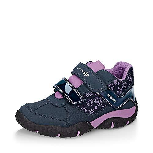 Geox Mädchen Low-Top Sneaker Baltic Girl WPF, Kinder Sneaker,Halbschuh,Sportschuh,Klettschuh, Klett-Verschluss,Navy/Lilac,32 EU / 13 UK Child
