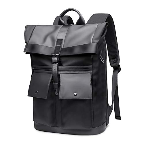 SUVOM Laptop Rucksack for Men 15.6' Anti Theft Roll Up Laptop Backpack Stylish Business Backpack Daypack School Bag for Outdoor Travel Black