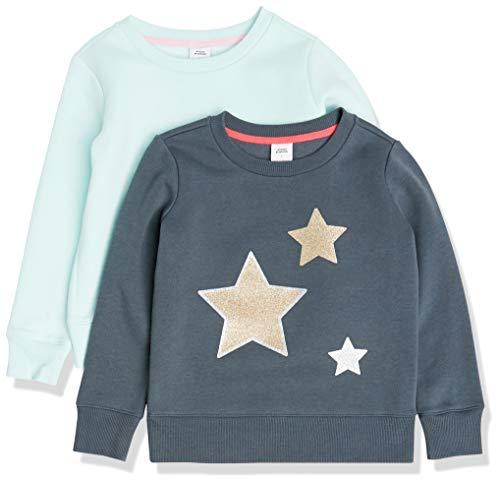 Amazon Essentials Fleece Crew-Neck Sweatshirts Playwear-Dresses, 2er Pack Sterne/Aqua, US XXL (EU 158 cm)