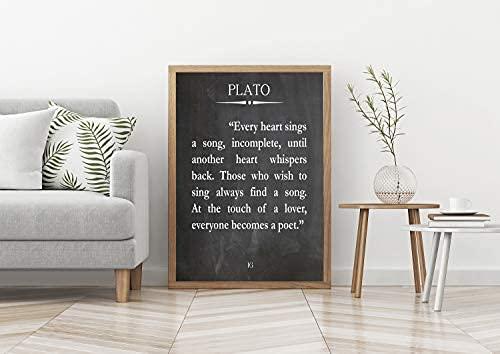 Platon citation Platon Platon Poster Ancien Poster Grec Poster Poésie | Affiche Pas de panneau de cadre pour la décoration de bureau, meilleur cadeau pour la famille et vos amis 11.7...