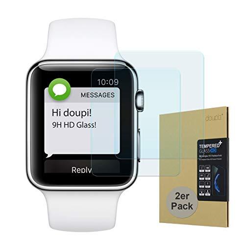 doupi 2X Pellicola Vetro Temperato per Apple Watch 42mm Series 1/2 / 3, [2-Pack] Premium 9H Vetro Temperato HD 2.5D Anti-Impronte Anti-graffio Ultra-Clear Protezione dello Schermo Protettiva