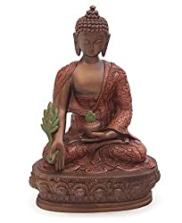 Amazon Buddha Groove Bronze and Rust Color Medicine Buddha Statue, 12 Inches Tall
