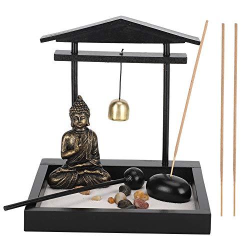 NOBRAND Mini meditación Zen Garden, Innovador Buda Bandeja de Arena Decoración Estatua Hogar Sala de Estar Ornamento Resina Artesanía(1906)