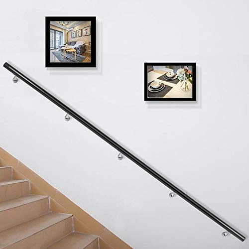 Happybuy Stair Handrail 12ft Length, Stair Rail Aluminum, Modern Handrails for Stairs 200lbs Load Capacity Stairway Railing, Long Steel Pipes Hand Rails for Indoor Outdoor Stairs Wall Mount Staircase