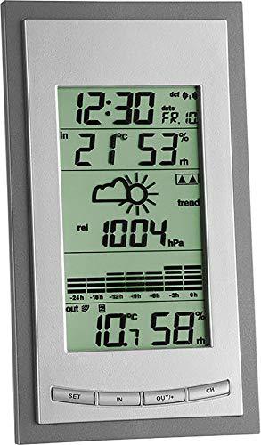 TFA Dostmann Diva Plus Funk-Wetterstation, Raumklimakontrolle, Wettervorhersage, grafische Anzeige, Außentemperatur/Luftfeuchtigkeit, inklusive Thermo-Hygrosender