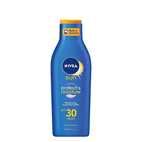 NIVEA SUN Protect & Moisturising 4 Hour Water Resistant Sunscreen Lotion. Made in Australia with Vitamin E & Panthenol, SPF30 200ml