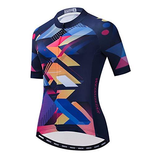 weimostar Damen-Radtrikot, schnelltrocknend, atmungsaktiv, für Mountainbike, Sport, Rennsport Gr. Large, 59