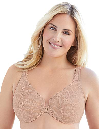 Glamorise Women's Plus Size Full Figure Wonderwire Front Close Stretch Lace Bra #9245, Café, 48C