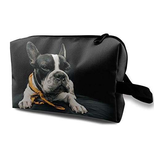 Travel Cosmetic Bag Portable,Frenchie Over Black Background Looking Forward,for Women Girls Multifunctional Storage Toiletry Case