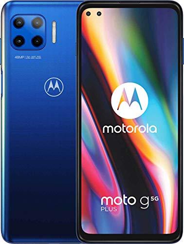 "MOTOROLA moto g 5G plus (6,7\""-Display, 48-MP-Kamera, 6/128 GB, 5000 mAh, Dual-SIM, Android 10) Blau, inkl. Schutzcover [Exklusiv bei Amazon]"