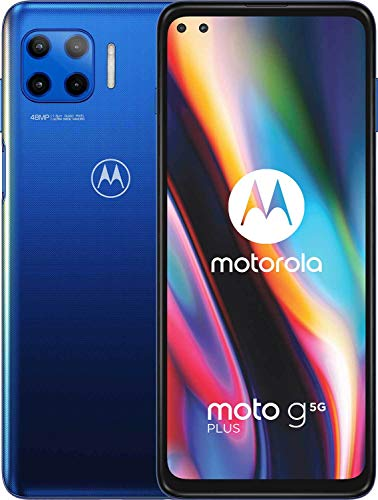"moto g 5G plus Dual-SIM Smartphone (6,7""-CinemaVision-FHD-Display, 48-MP-Vierfach-Kamerasystem, 128 GB/6 GB, Android 10) Blau inkl. Schutzcover [Exklusiv bei Amazon]"