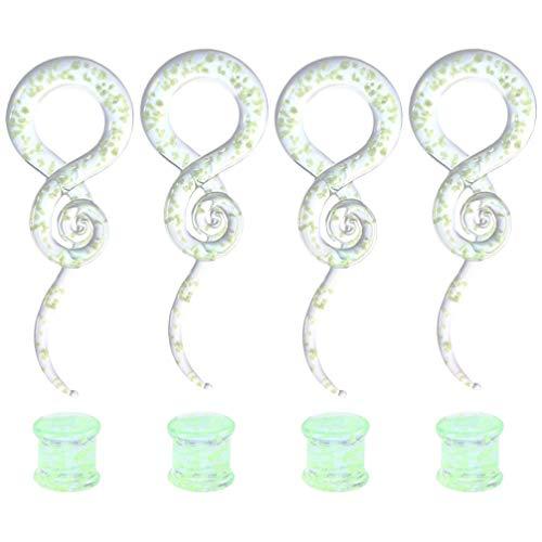 Happyyami 2 par / 4 Piezas Expansores de Oreja Expansores Luminosos Pendientes de Acrílico de Vidrio de Vidrio Conjunto de Joyas Piercing para Hombres Mujeres Adultos 10Mm