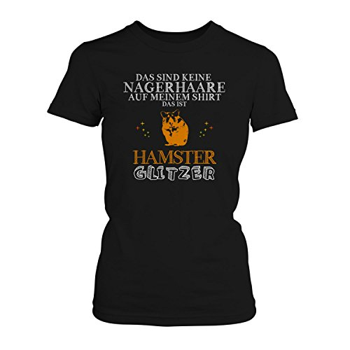 Fashionalarm Damen T-Shirt - Das sind Keine Nagerhaare - Hamster Glitzer | Fun Shirt Spruch lustige Geschenk Idee Goldhamster Teddy Zwerg, Farbe:schwarz;Größe:3XL
